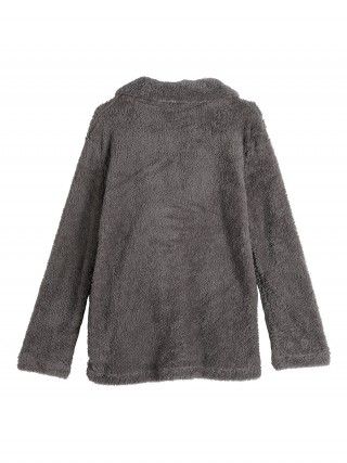 Snazzy Dark Gray Coat Queen Size Turndown Neck Fashion Shopping