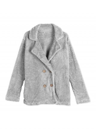 Soft-Touch Light Gray Long Sleeve Coat Solid Color Fashion Shop Online