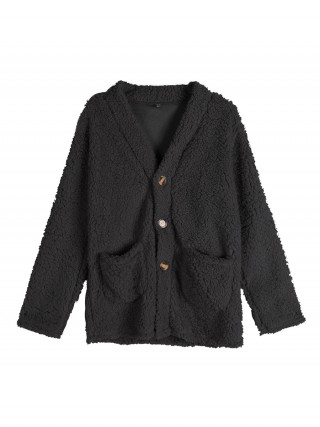 Unvarnished Black Long Sleeve Single Breasted Coat Seamless