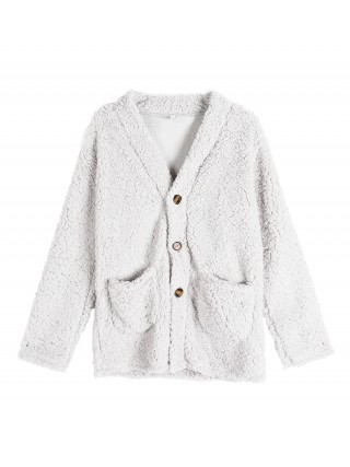 Vintage White Plush Coat Pockets Long Sleeve Outdoor