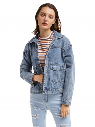 Sexy Ladies Long Sleeve Denim Jacket Two Pockets On-Trend Fashion