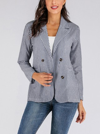 Appealing Turndown Neck Coat Stripe Print Feminine Grace
