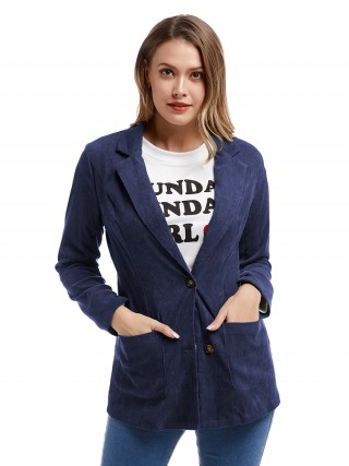 Effortless Deep Blue Long Sleeve Lapel Neck Button Jacket For Upscale