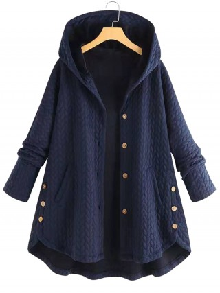Noticeable Dark Blue Solid Color Button Plus Size Coat Women's Apparel