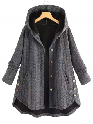 Sweet Fantasies Gray Hooded Collar Coat Ruffle Hem Online Wholesale