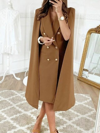 Upscale Brown Lapel Neck Double-Breasted Cape Coat Women Fashion Style