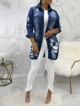 Deep Blue Hole Denim Jacket Oversize Turndown Neck Casual Wear