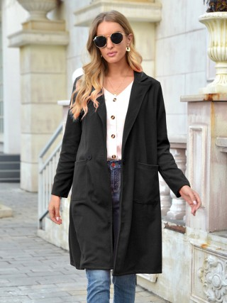 Black Turndown Collar Solid Color Coat Charming Fashion