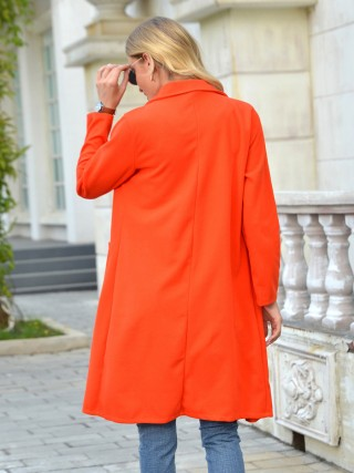 Orange Pockets Midi Length Solid Color Coat Chic Trend
