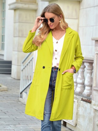 Yellow Turndown Neck Coat Pocket Full Sleeve Leisure Wear