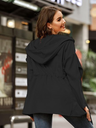 Black Hooded Collar Solid Color Drawstring Coat Ladies Elegance