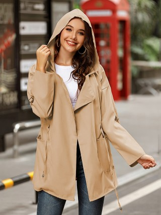 Khaki Drop Shoulder Open Front Pockets Coat Online Fashion
