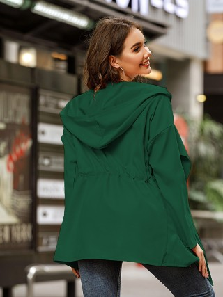 Blackish Green Coat Solid Color Ruched Long Sleeve Fashion
