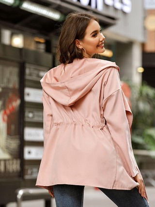 Pink Full Sleeve Coat Tie Thigh Length Fashion Ideas