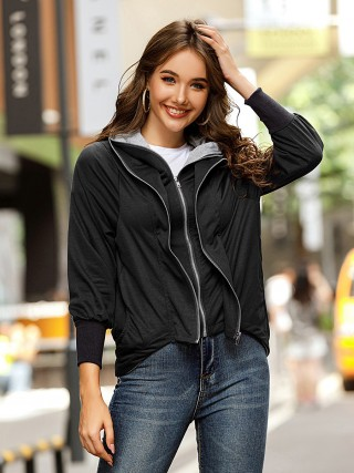 Black Tiered Hooded Collar Coat Full Sleeve Outdoor