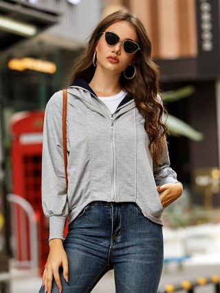 Gray Coat Bishop Sleeve Irregular Hem Cheap Online