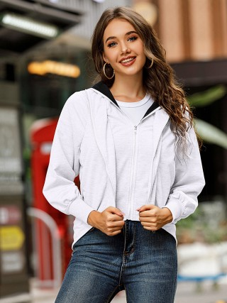 White Hip Length Zipper Coat Long Sleeve Female Charm