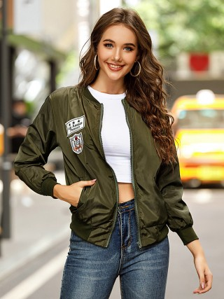 Army Green Jacket Zipper Full Sleeve Badge Pattern For Street Snap