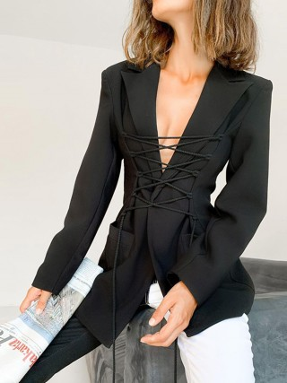 Black Lapel Neck Lace-Up Suit Jacket With Pocket Heartbreaker