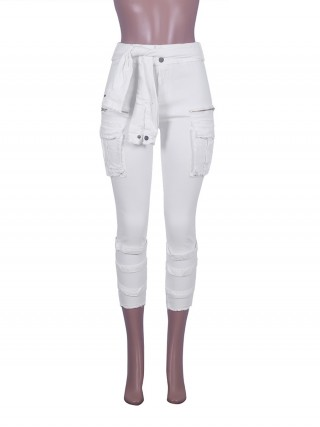 Brightly White High Waist Jeans With Pockets Zipper Womens Fashion Online