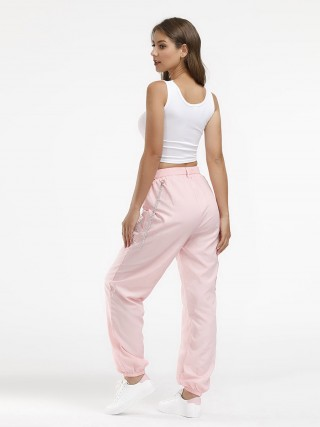 Favorite Solid Color Belt Sport Pants Pocket Trend For Women