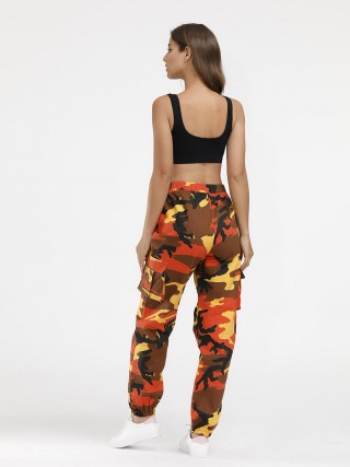 Simply Chic Camouflage Print Elastic Waist Pants Female Grace