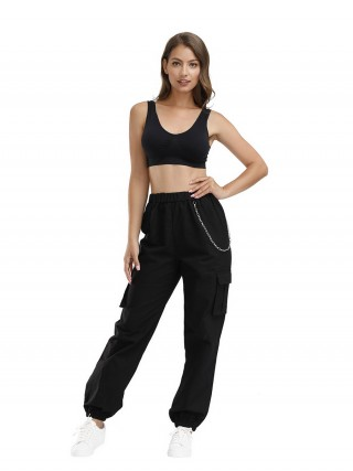 Glossy Athletic Pants Ankle Length High Rise Quick Drying