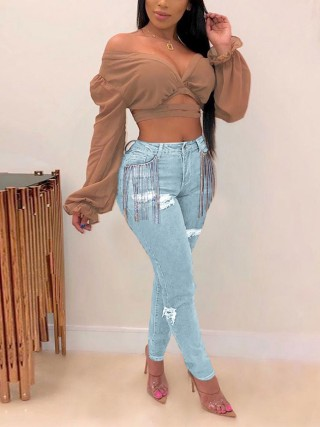 Matching Light Blue Side Pockets Ripped Tassel Jeans Leisure