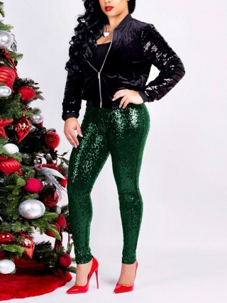 Explorer Green Mid-Waist Pants Full Length Sequin Women's Fashion