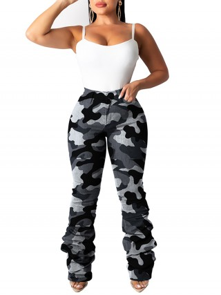 Unique Pants With Pockets Camouflage Paint Online Fashion