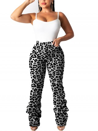 Sweetheart Leopard Pattern Pants With Pockets Womens Designer Clothing
