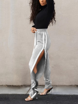 Dazzles Gray Elastic Waist Pants Contrast Color Fashion Forward