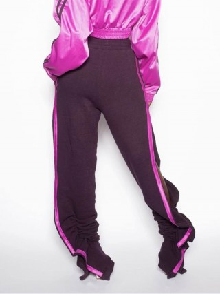 Tailored Purple Ruffle Trim Drawstring Pleated Pants Comfort Fit