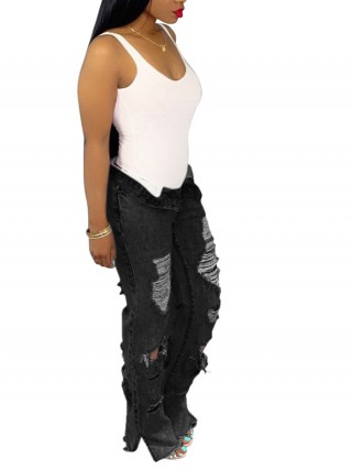 Romans Black Flare Ripped Denim Pants Split Hem For Women