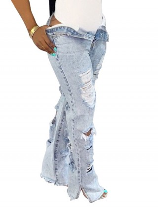 Trendy Light Blue Split Jeans High Waisted Broken Hole Soft