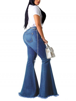 Shop Blue Bell Bottom Pocket High Waist Jeans Ladies