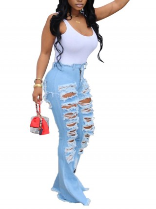 Sleek Light Blue Flare Destroyed High Rise Denim Pants