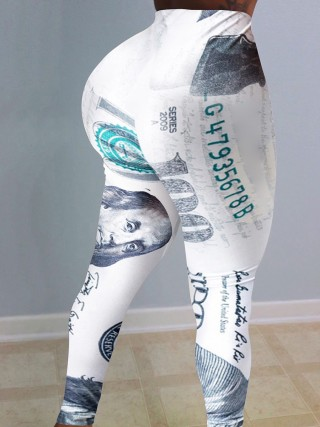 White Dollar Printed High Waist Tight Pants Stretchy