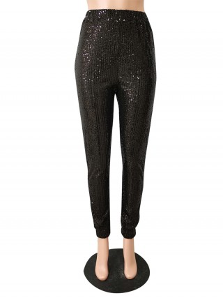 Black Sequin Elastic Waist Full Length Pants Street Style
