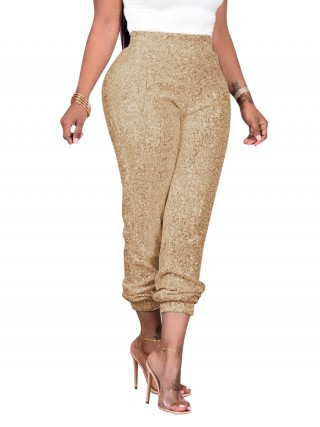 Gold High Rise Ankle Length Pants Female Grace