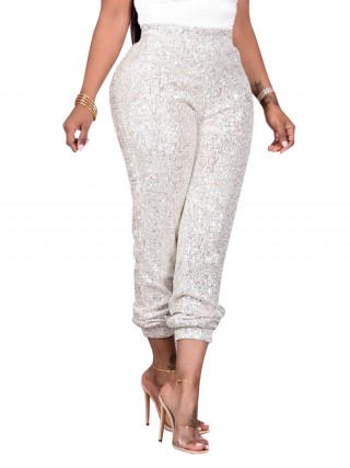 Silver Pants Sequin Elastic Waist Ankle Length Female Elegance