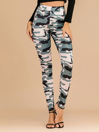 Vogue Ankle Length Pants Camouflage Print Casual Clothes
