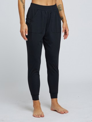 Affordable Black Elastic Waist Athletic Pants Pockets Womenswear
