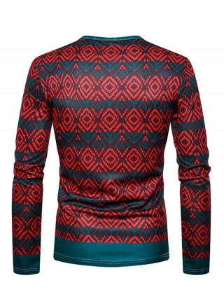 Flexible Male Top Full Sleeve Santa Claus Print Fashion