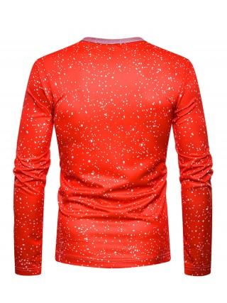 Glam 3D Christmas Round Collar Male Shirt Fashion Style