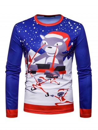 Dynamic Men Cartoon Christmas Printing Top For Camping
