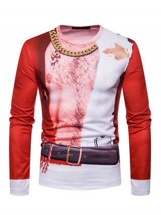 Fetching Round Collar Print Male Top Christmas Leisure Fashion