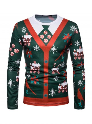 Modest Round Neck Men Xmas Shirt Full Sleeves Fashion Charm