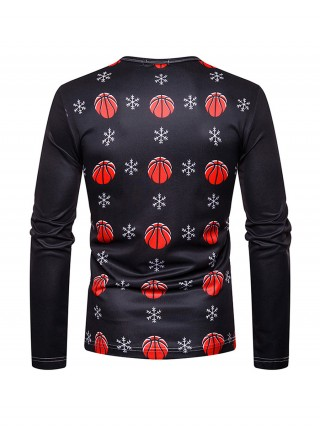 Splicing Men Xmas Shirt Crew Neck Full Sleeves For Male