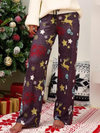 Matching Dark Gray Contrast Color Christmas Print Pants Elegance